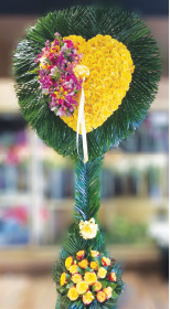 YELLOW ROSE HEART WITH COLORFUL BURST AND PALM LEAF