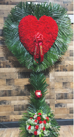 RED CARNATION HEART WITH PALM LEAF