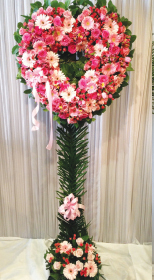 OPEN MIXED PINK HEART WITH LEMON LEAF