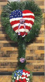 PATRIOTIC CARNATION HEART WITH PALM LEAF