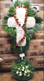 WHITE ROSE CROSS WITH RED ROSARY AND PALM LEAF