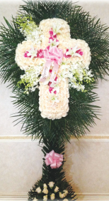 WHITE ROSE CROSS WITH PINK INNER CROSS AND ORCHIDS WITH PALM LEAF