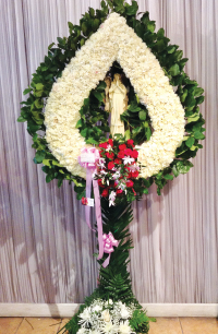 WHITE CARNATION TEAR DROP WREATH WITH STATUE