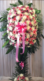 WHITE AND PINK ASSORTED SPRAY WITH THAI LEAVES