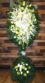 WHITE AND GREEN FREEFLOWING SPRAY WITH ORCHIDS