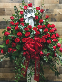 RED ROSE BASKET WITH STATUE