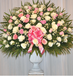 PINK AND WHITE ROSE BASKET