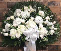 WHITE HYDRANGEA AND ROSE ELEGANT BASKET