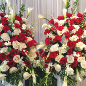 RED AND WHITE ROSE DOUBLE ELEGANT BASKETS