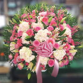 PINK AND WHITE ELEGANT BASKET