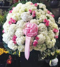 WHITE HYDRANGEA AND PINK ROSE ELEGANT BASKET