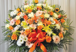 PINK AND ORANGE STANDARD BASKET WITH LILIES