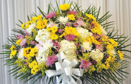 PURPLE, YELLOW AND WHITE STANDARD BASKET