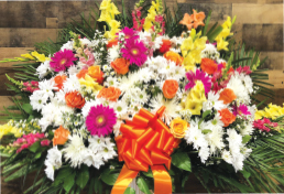 PINK, YELLOW, ORANGE AND WHITE STANDARD BASKET