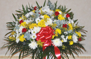 YELLOW, RED AND WHITE STANDARD BASKET
